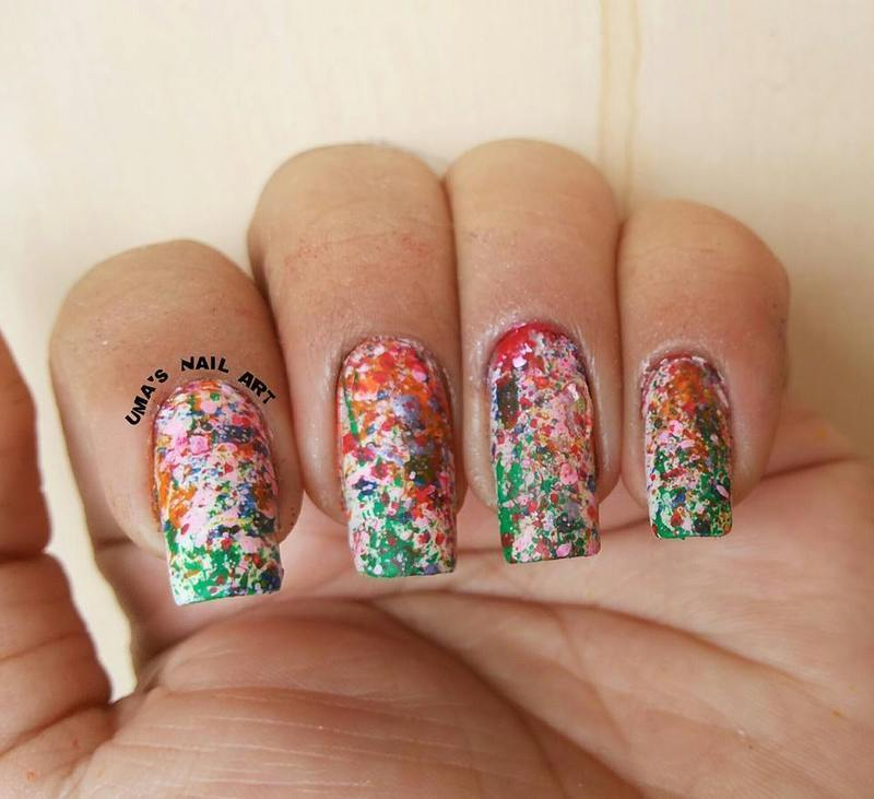Splatter ! nail art by Uma mathur