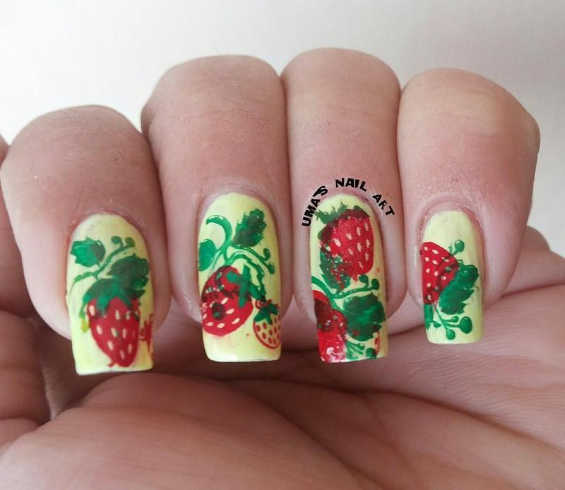 Strawberry Field nail art by Uma mathur
