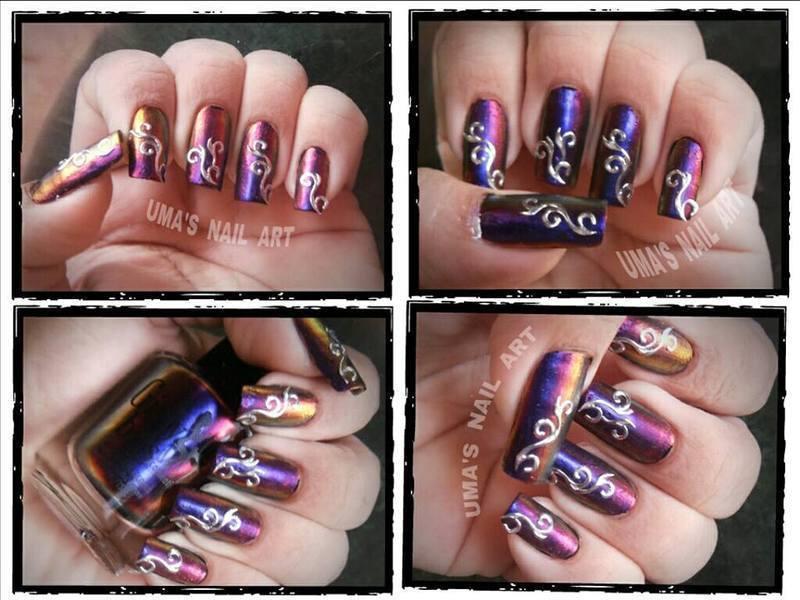 Chrome crazy... nail art by Uma mathur
