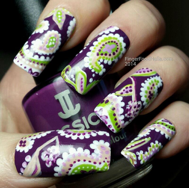 The Digital Dozen does Decades 1 - 70s Paisley nail art by Sam