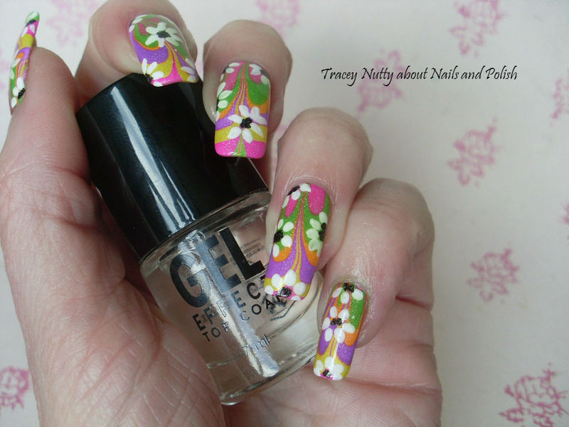 Flower Power Austin Powers inspired water marble nail art by Tracey ...