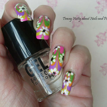 Flower Power Austin Powers inspired water marble nail art by Tracey - Bite no more