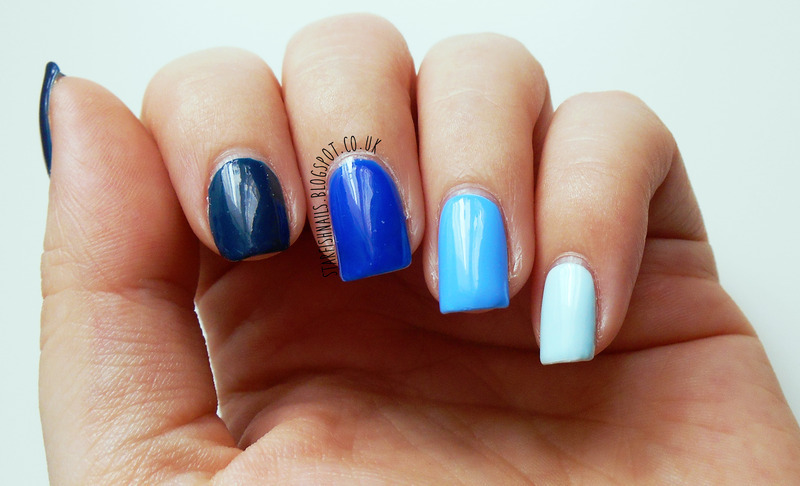 Barry M Blackberry, Barry M Blue Grape, Barry M Blueberry, Barry M Huckleberry, and Seche Seche Vite Swatch by Lisa Yabsley