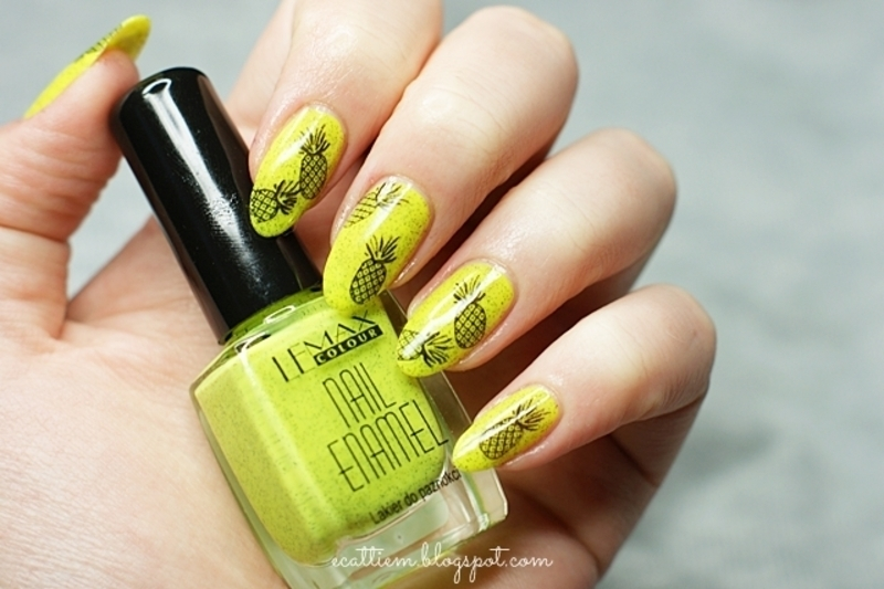 Little neon pineapple nail art by ecattiem