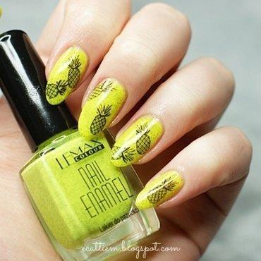 Little neon pineapple nail art by ecattiem