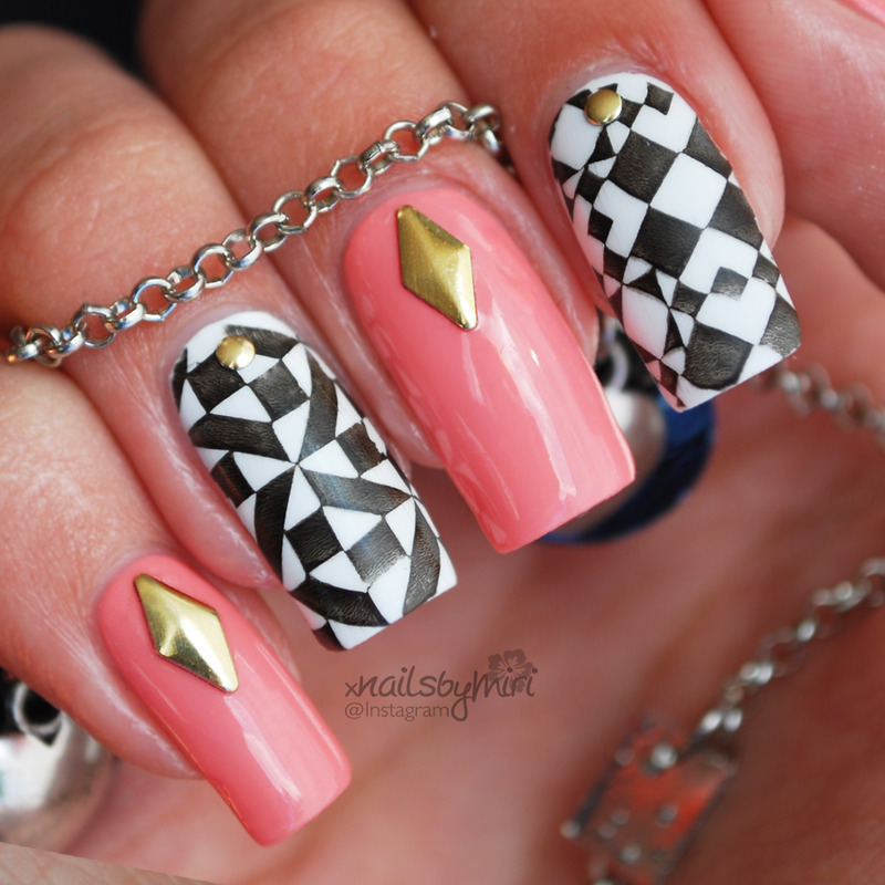 Pink and black white stamp design nail art by xNailsByMiri