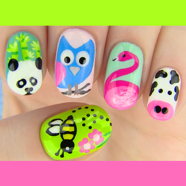 Animals inspired Nail Art nail art by SaraBeautyCorner