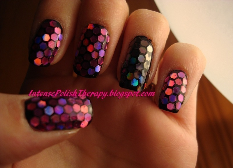 Black & Pink Hexagon manicure nail art by IntensePolishTherapy Anita