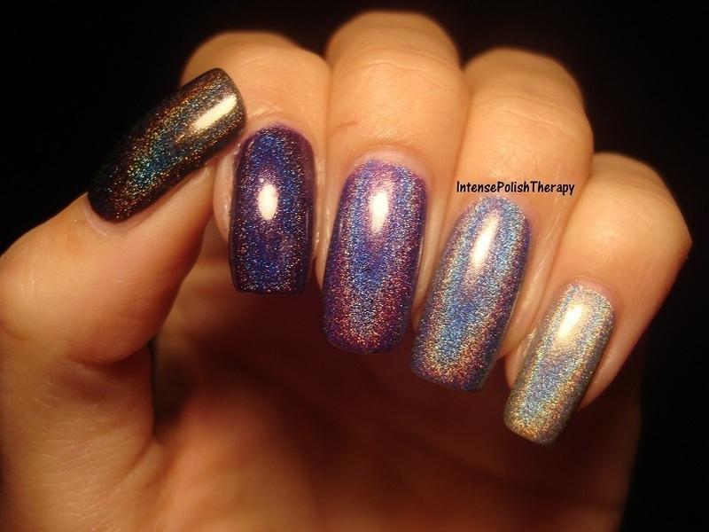 Black, Purple & Silver Holographic ombre manicure nail art by IntensePolishTherapy Anita
