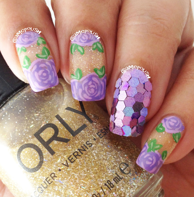Roses and Glitter nail art by Amber Connor