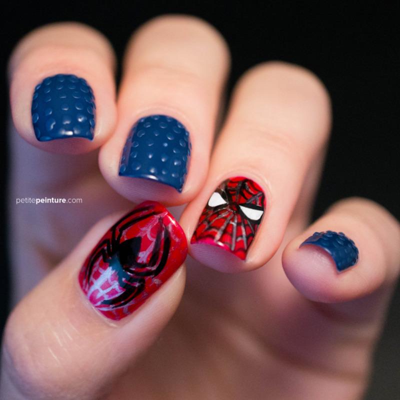 Spiderman nail art by Petite Peinture
