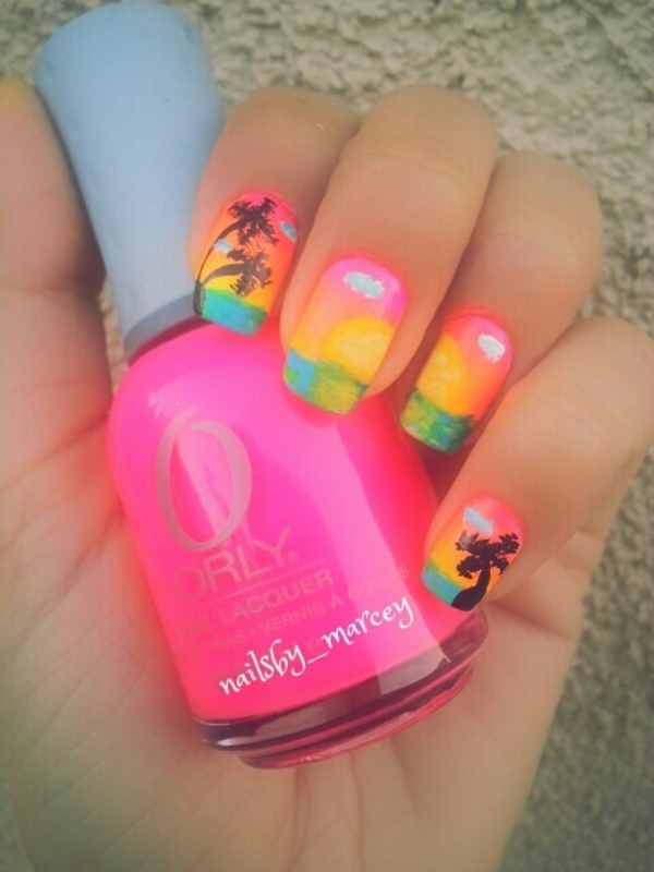 Sunset Paradise  nail art by Marcela