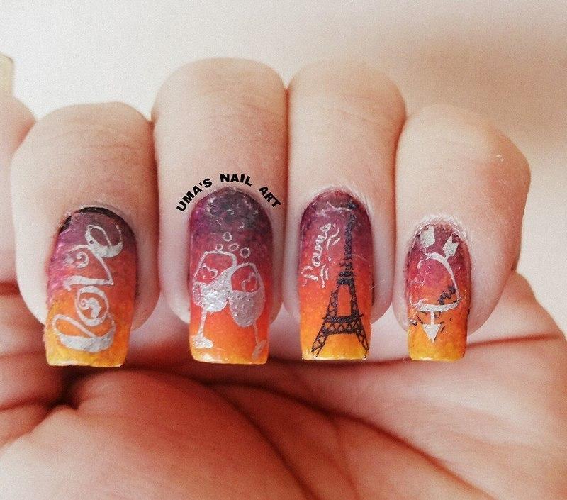 Evening in Paris.... nail art by Uma mathur