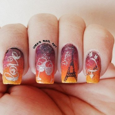 Evening in Paris.... nail art by Uma mathur