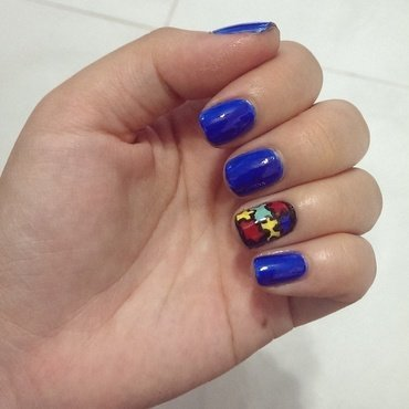 Paint it Blue for Autism nail art by JingTing Jaslynn