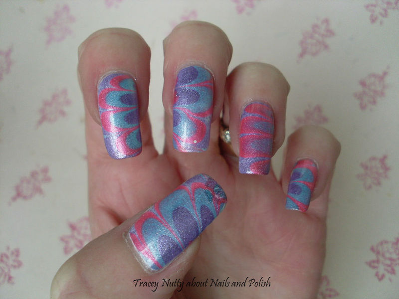 Metallic Water Marble nail art by Tracey - Bite no more