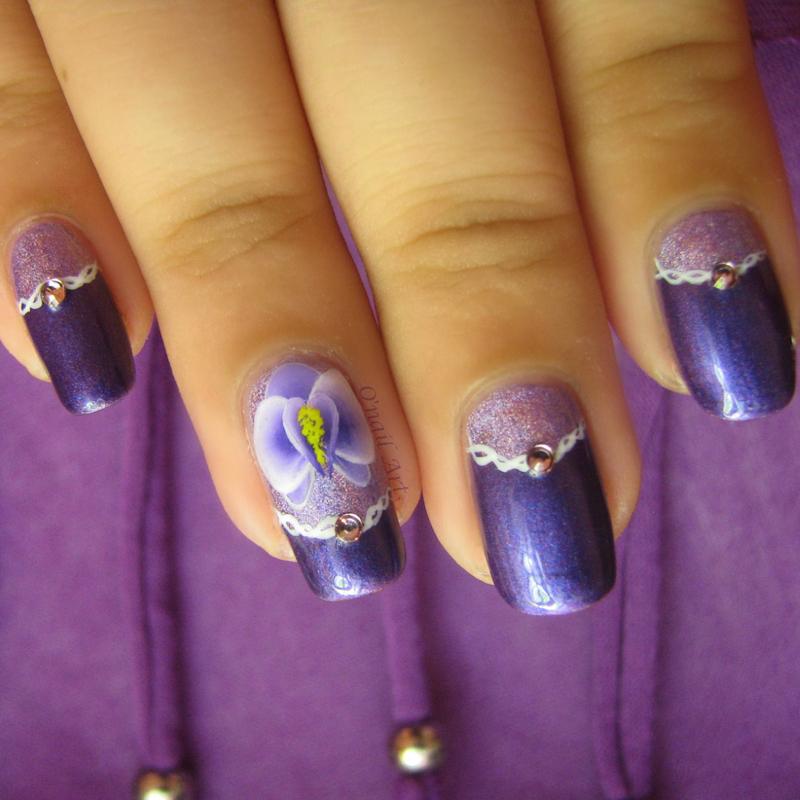 Orchid nail nail art by OnailArt