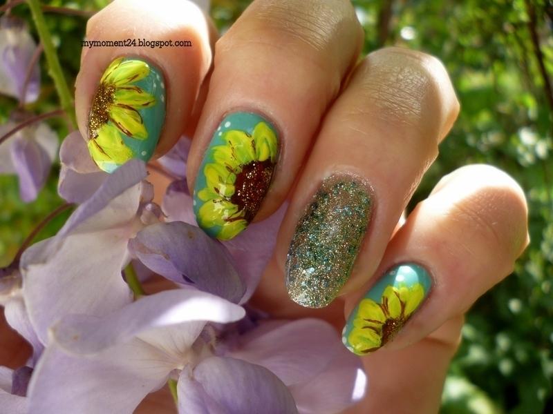 Sunflower nail art by T. Andi