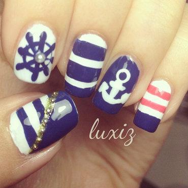 Nautical Nails nail art by Luxi Zhang