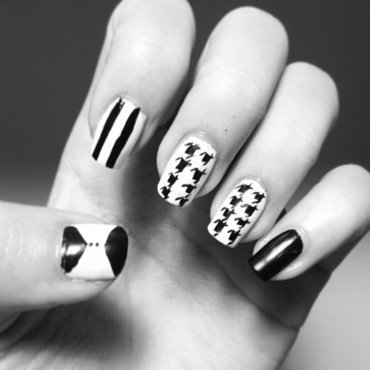 Houndstooth nails nail art by Luxi Zhang