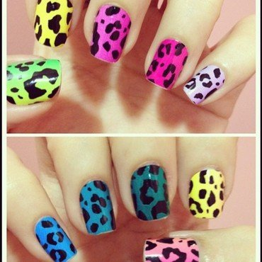 Colorful Leopard nail art by Luxi Zhang