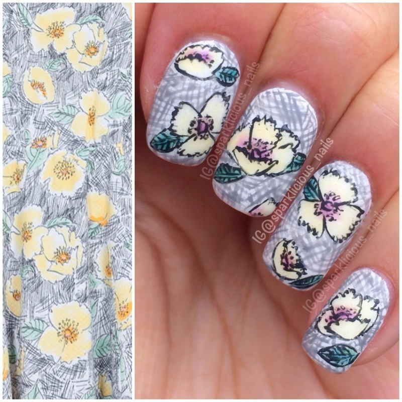 """Fashion Inspired Florals nail art by Amanda """"Sparklicious Nails"""""""