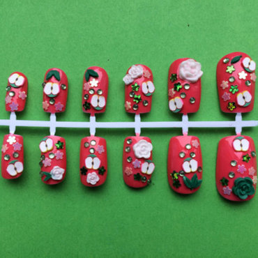 apple roses  nail art by Cinnamoncafe
