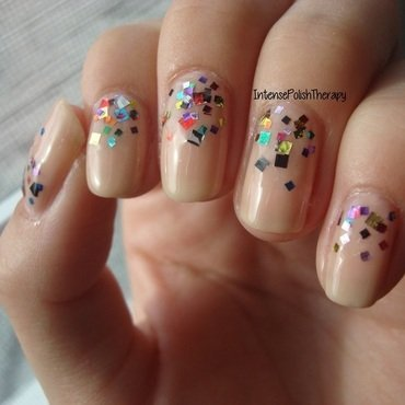 colourful Reverse Gradient over a neutral polish nail art by IntensePolishTherapy Anita