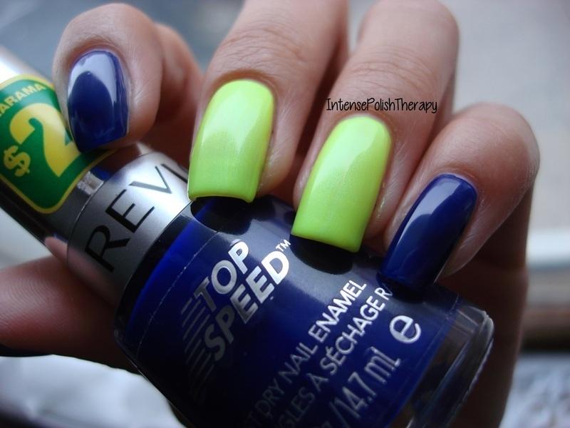 Neon Yellow & royal blue manicure nail art by IntensePolishTherapy ...