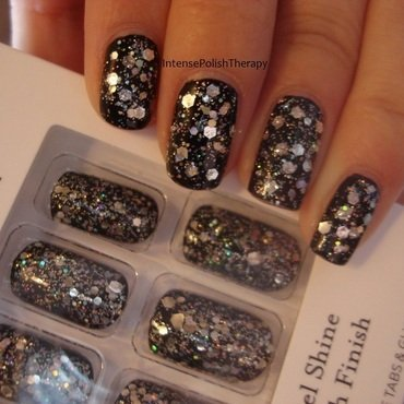 Recreation Manicure, Silver glitter over a black base nail art by IntensePolishTherapy Anita