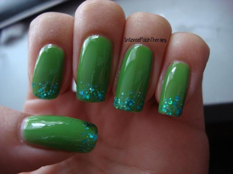 Blue Glitter Gradient Over Green Base nail art by IntensePolishTherapy Anita