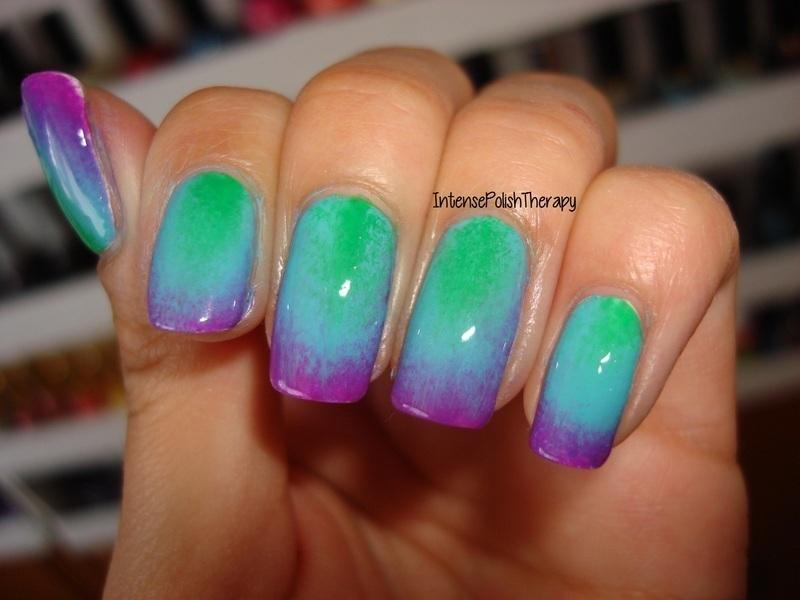 Purple Blue Green Gradient Nail Art By Intensepolishtherapy Anita