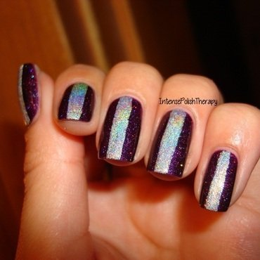 Purple manicure with a silver holographic strip nail art by IntensePolishTherapy Anita