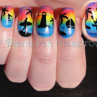 Off to the beach nail art by Diana van Nisselroy