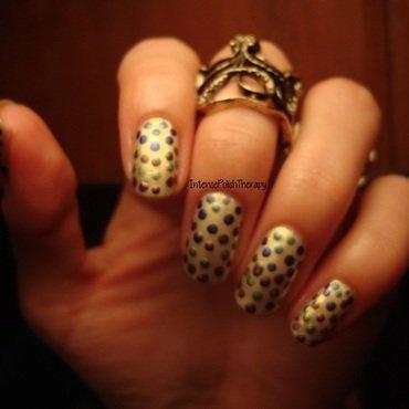 multi coloured polka dot over a yellow base nail art by IntensePolishTherapy Anita