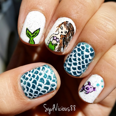 Mermaid nails nail art by SydVicious
