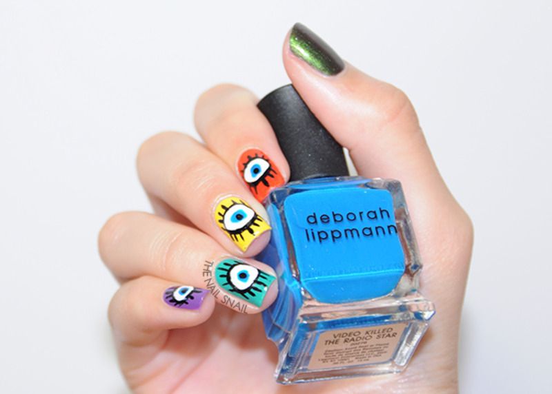 Eyes feat. Deborah Lippmann's 80s Rewind collection nail art by Lucy (the Nail Snail)