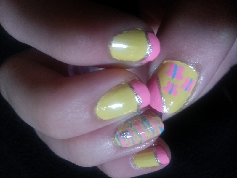 Fluttershy nail art by Brittany Wanner