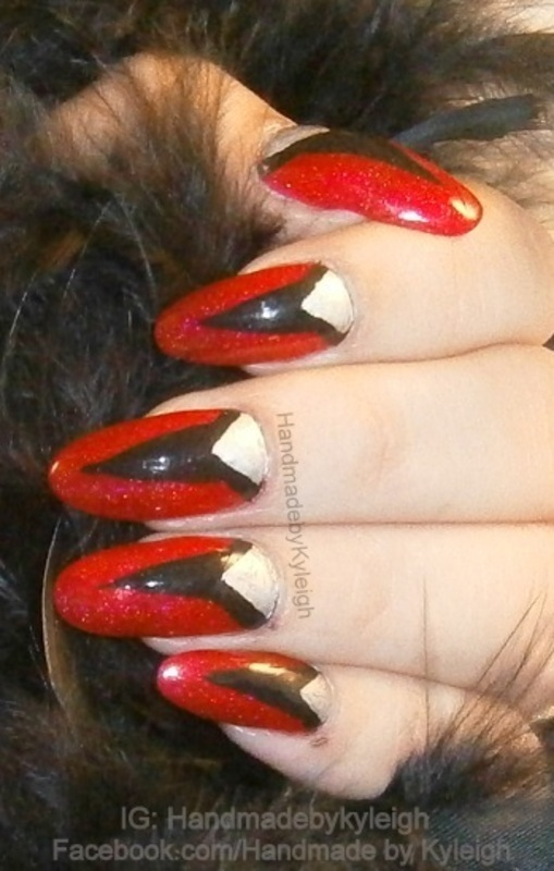 Red Art Deco nail art by  Kyleigh  'Handmade By Kyleigh'