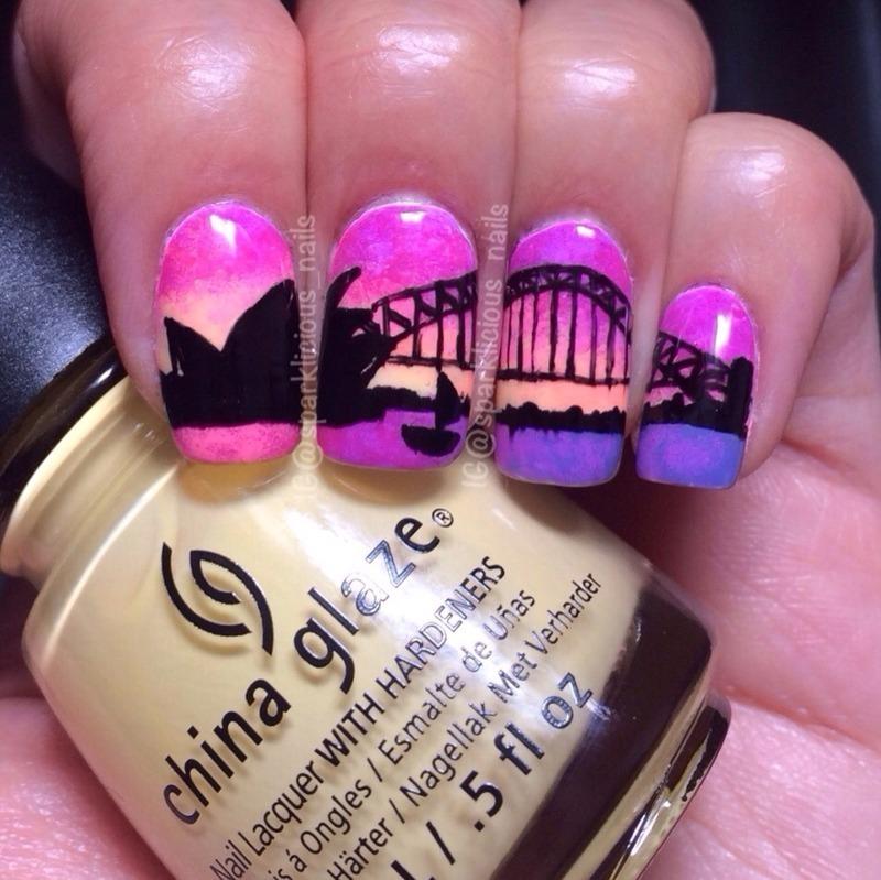 Sydney Sunset Nail Art By Amanda Sparklicious Nails Nailpolis