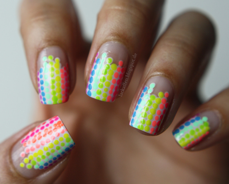 Neon Equalizer nail art by Tartelette
