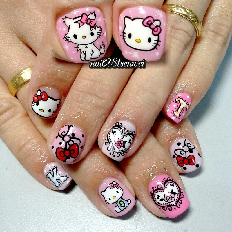 hellokitty nail art by Weiwei