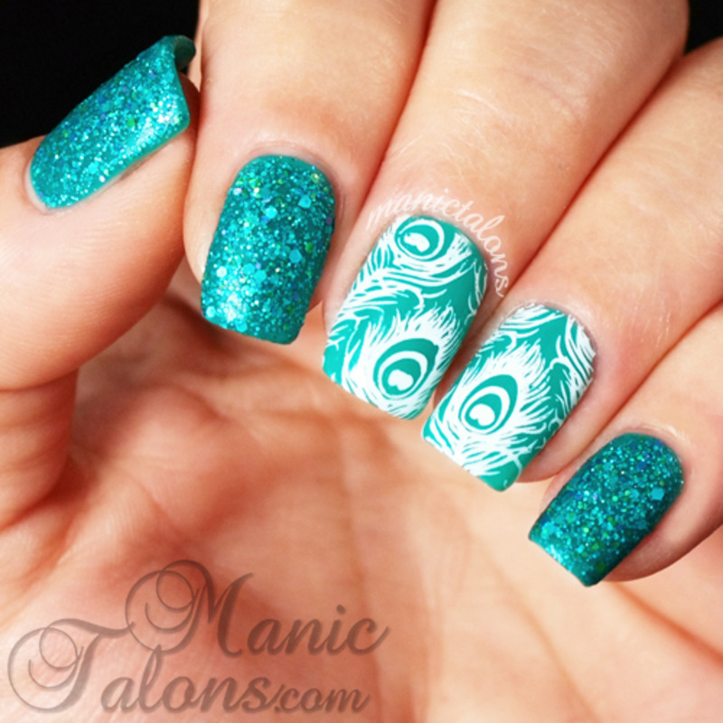 Texture and Peacocks nail art by ManicTalons