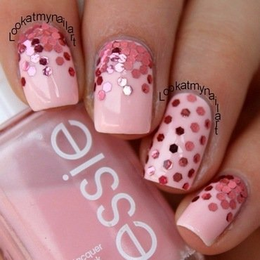 Pink glitter placement nail art by Sabine