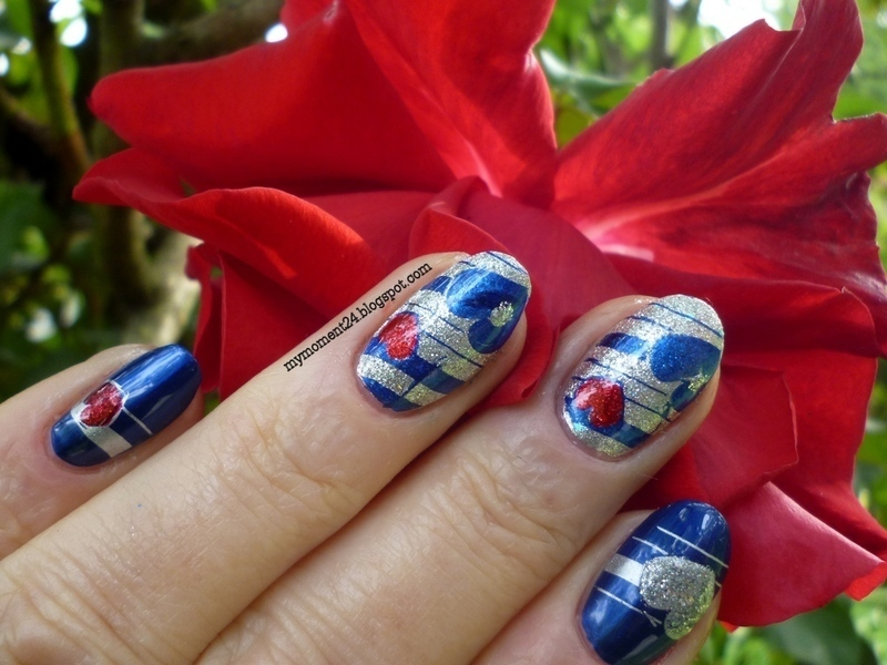 Heart nail art by T. Andi