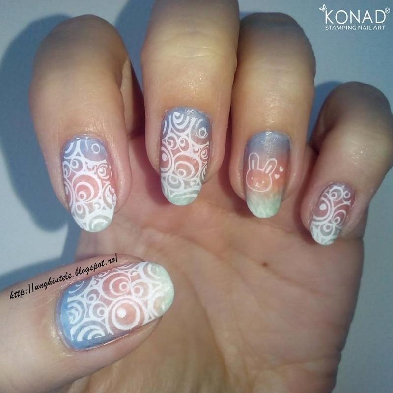 Easter gradient mani nail art by Oana  Alexandru