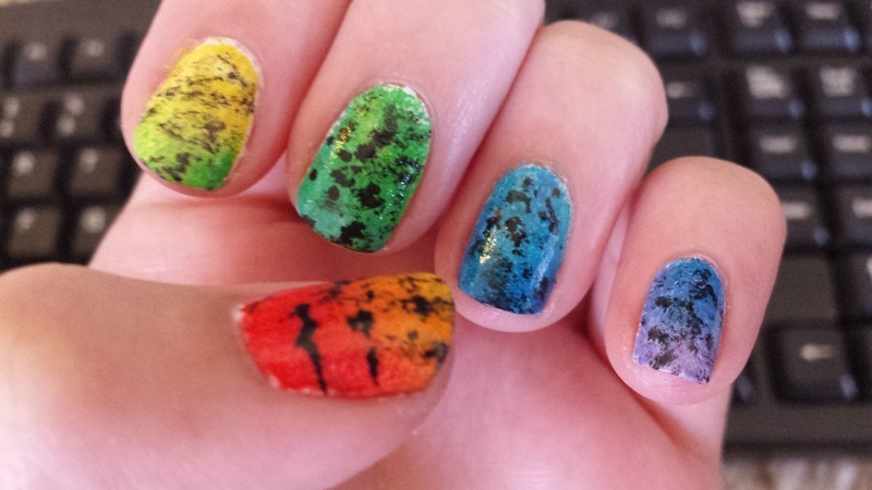 Tie-Dye splash nail art by Brittany Wanner
