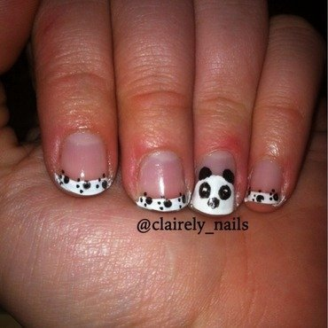 Panda bear paws nail art by Claire B