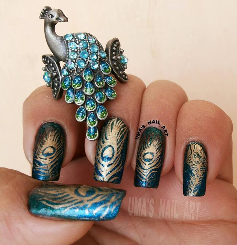 Peacock Feathers.. nail art by Uma mathur