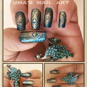 peacock everywhere.. nail art by Uma mathur